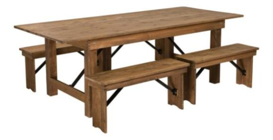 8_ x 40_ Farm Table (with four bench set)