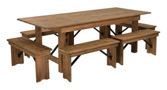 8_ x 40_ Farm Table (with six bench set)