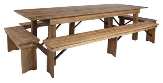 9_ x 40_ Farm Table (with four bench set)